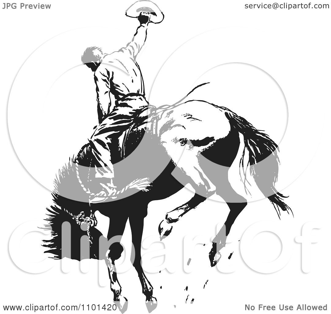 Clipart Retro Black And White Rodeo Cowboy On A Bucking Horse 1 ...