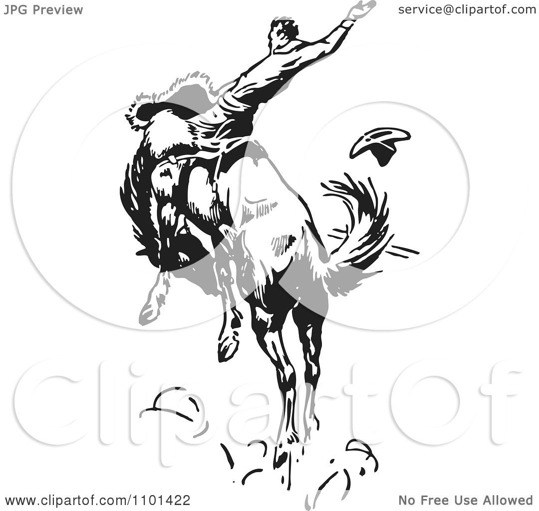 Clipart Retro Black And White Rodeo Cowboy On A Bucking ...