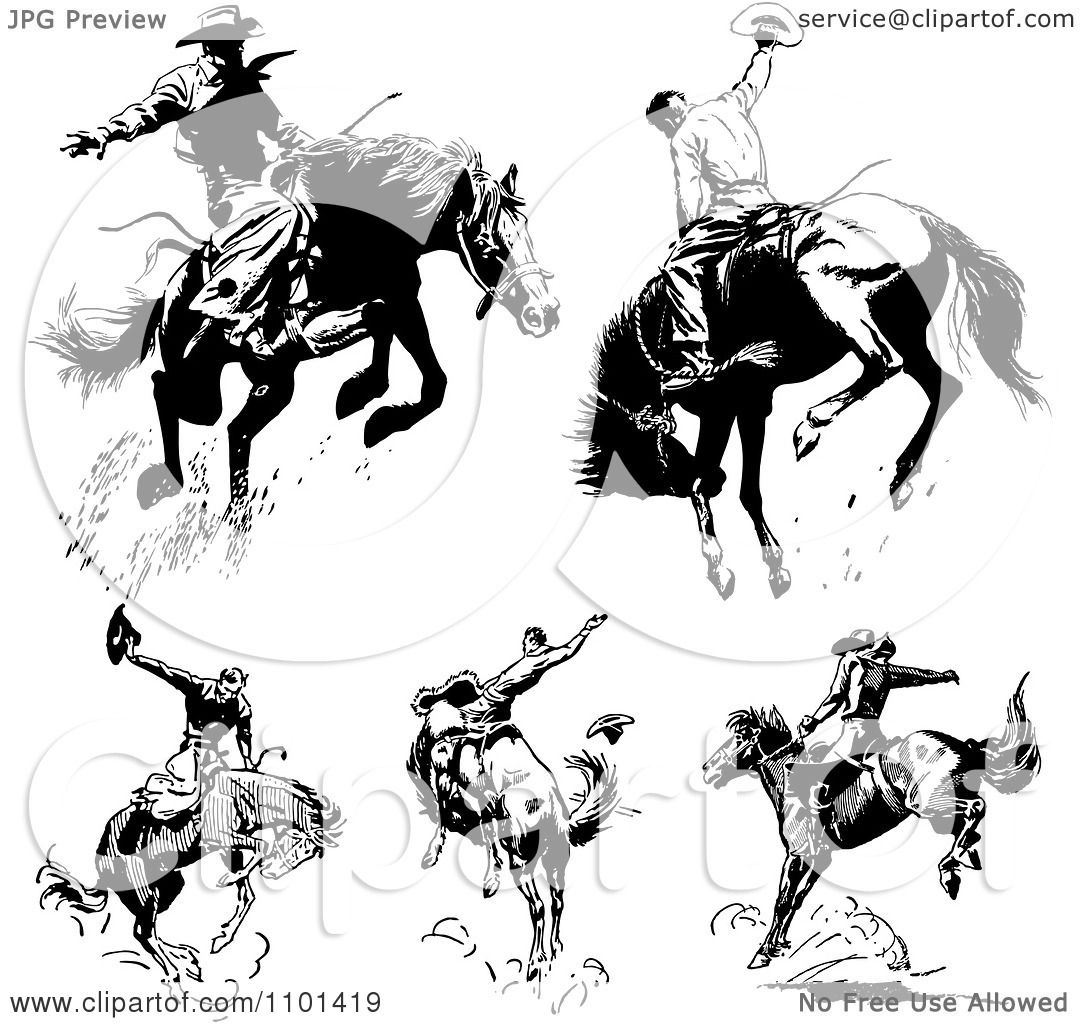 Clipart Retro Black And White Rodeo Cowboys On Bucking Horses Royalty Free Vector Illustration By Bestvector 1101419