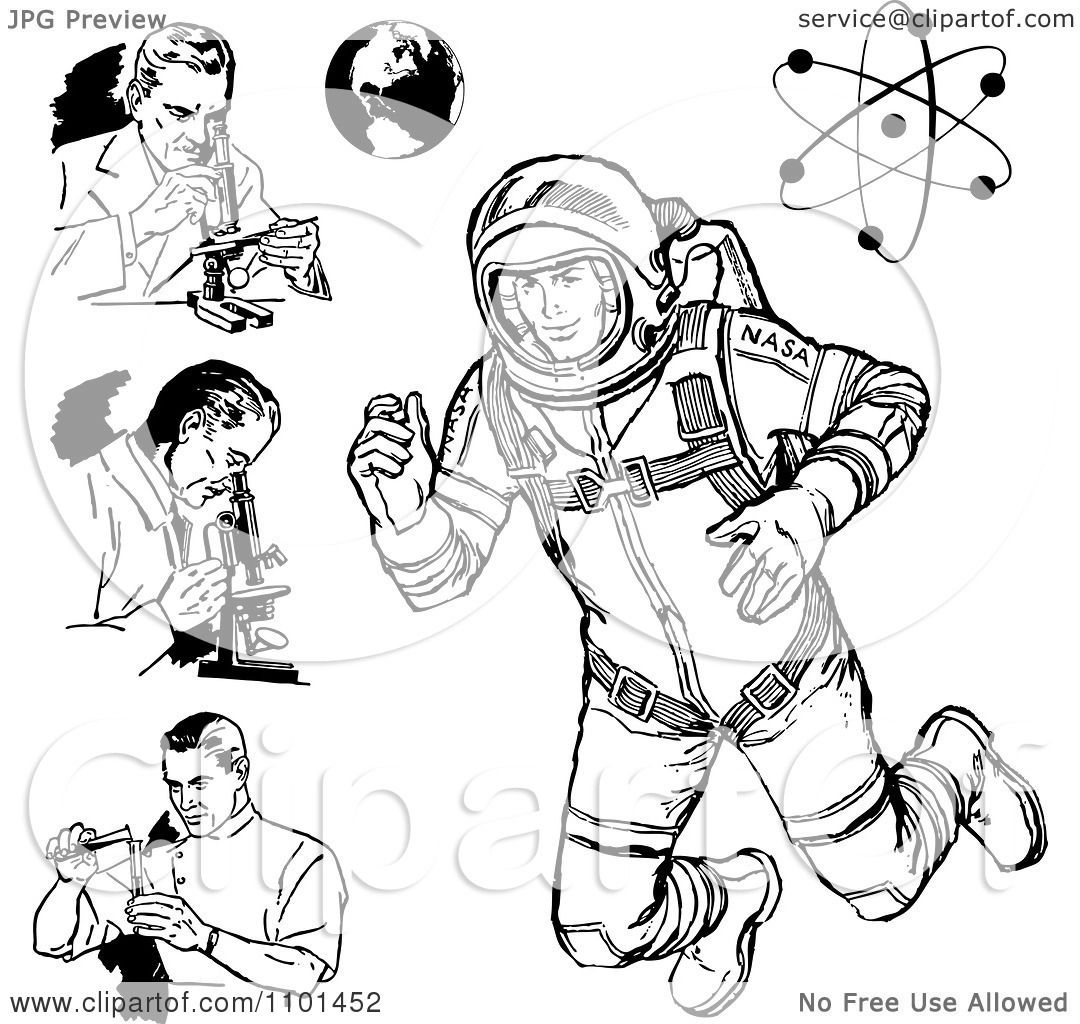 Clipart Retro Black And White Scientists Astronaut Earth And Atom    Retro Astronaut Drawing
