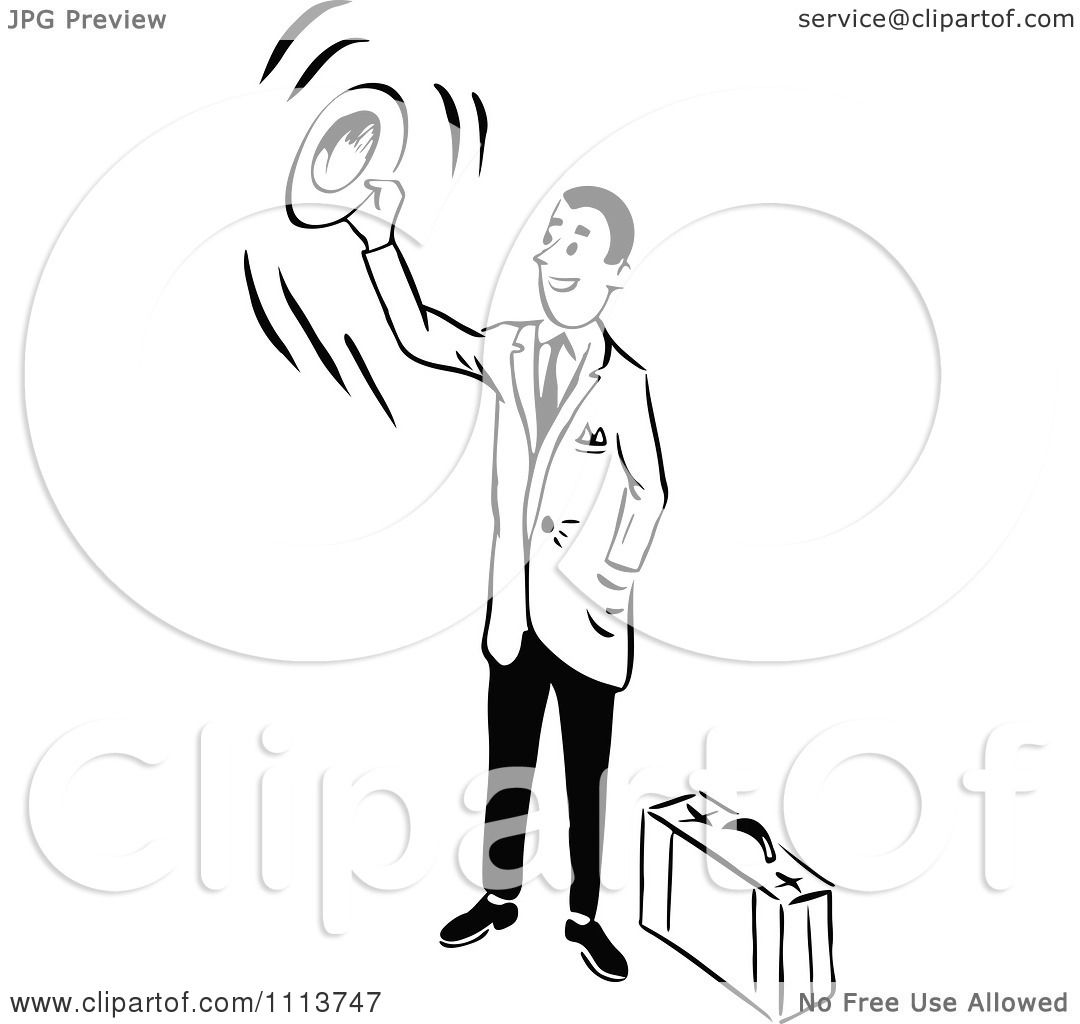 Clipart Retro Black And White Traveling Businessman Waving ...