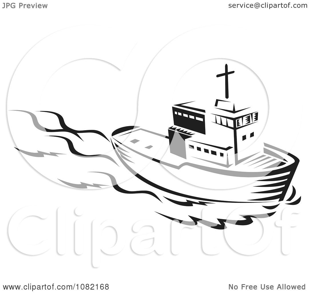 Clipart Retro Black And White Tug Boat - Royalty Free Vector ...