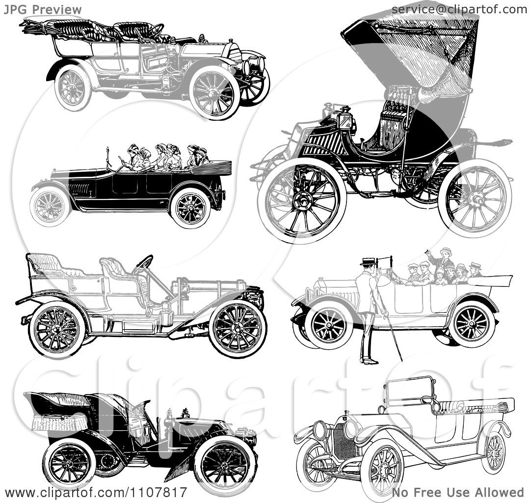 clipart retro black and white vintage convertible cars