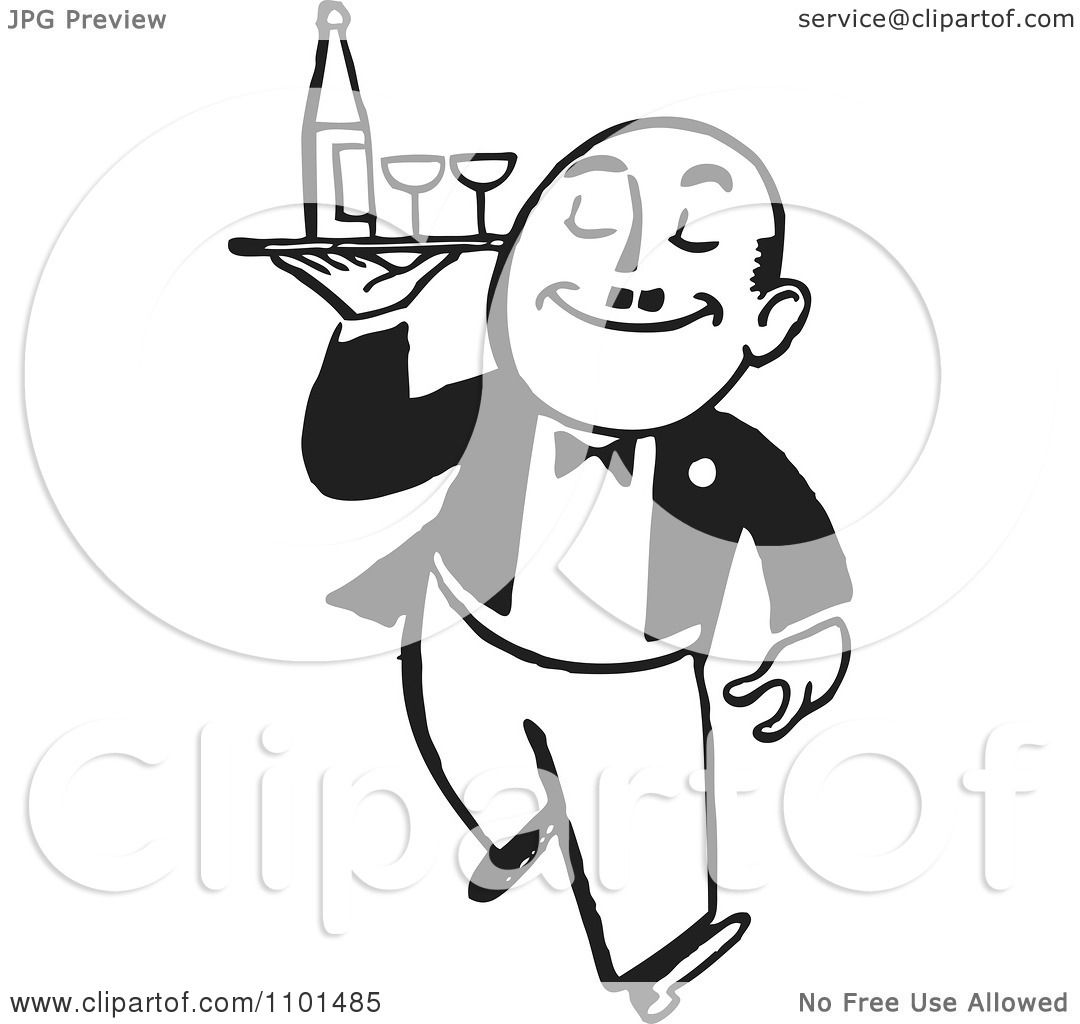 Clipart Retro Black And White Waiter Carrying Wine And ...