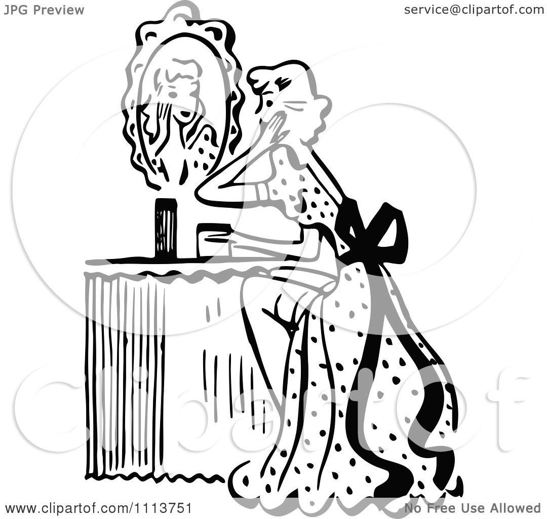 clipart retro black and white woman looking at a mirror at her vanity
