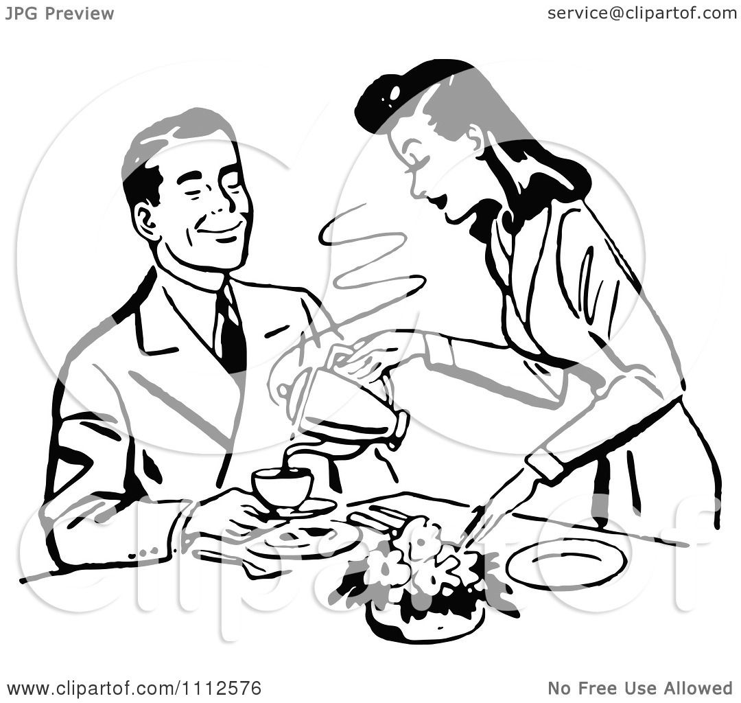 Clipart Retro Black And White Woman Pouring Her Husband ...
