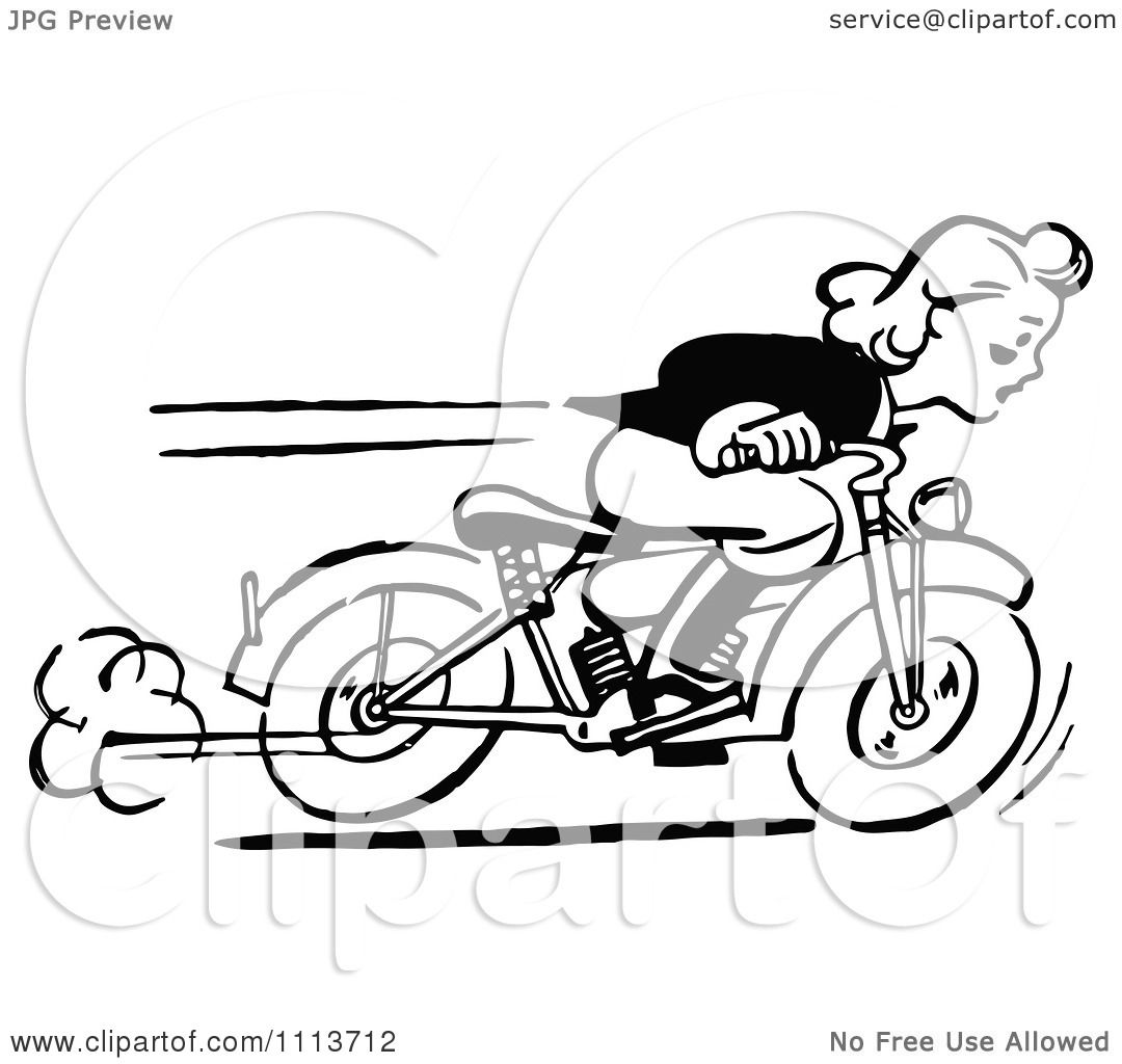 Clipart Retro Black And White Woman Racing A Motorcycle - Royalty ... for Racing Motorcycle Clipart Black And White  70ref