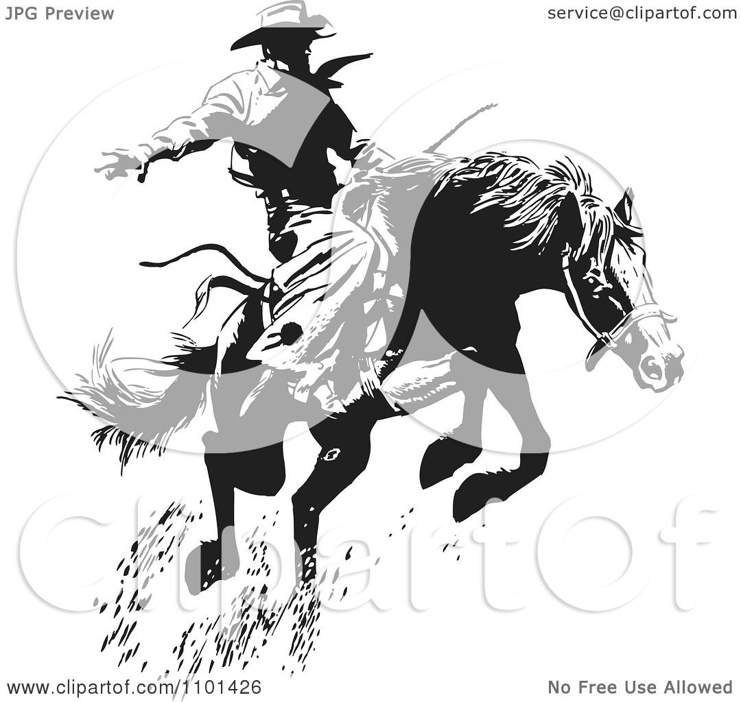 Clipart Retro Black And White Wrangler Cowboy On A Leaping Horse ...