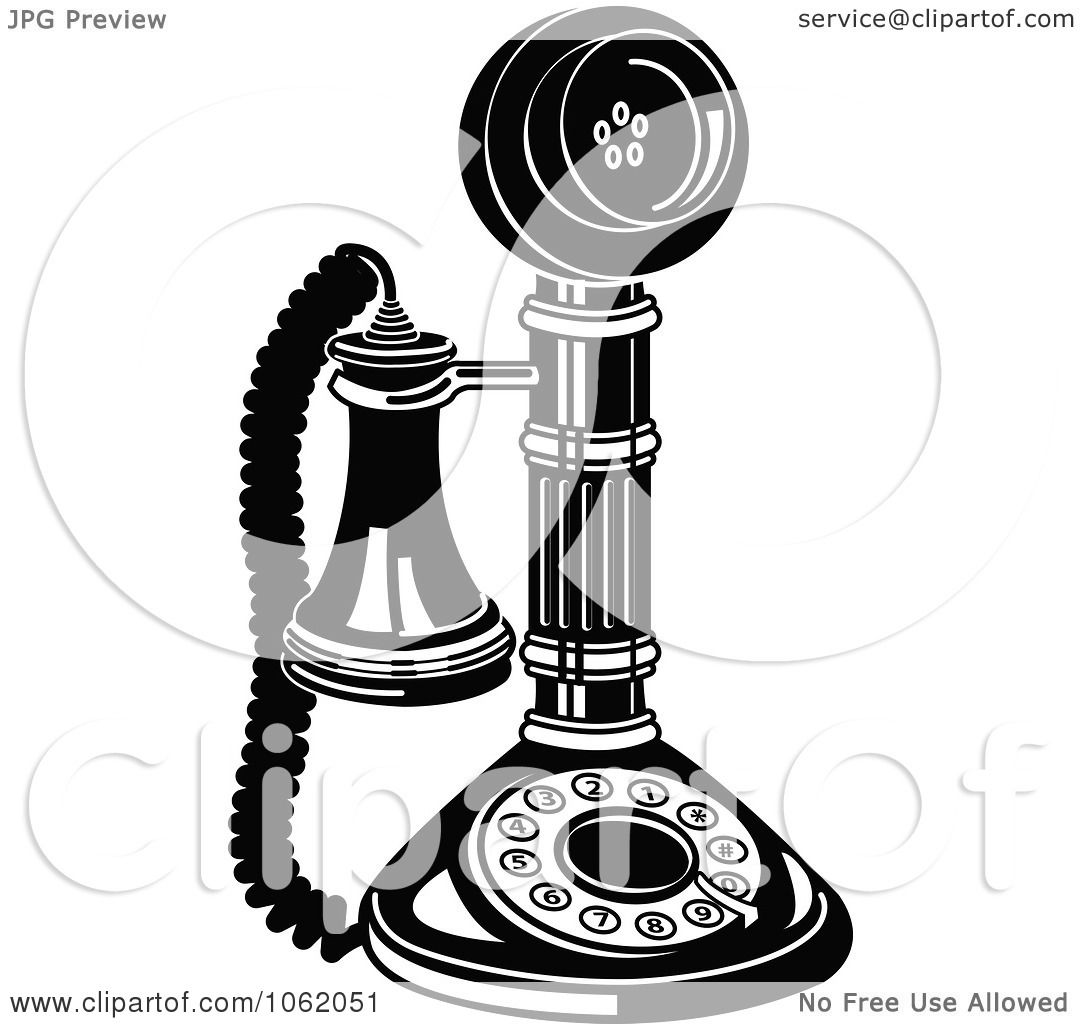 phone clipart black and white. clipart retro candlestick phone in black and white royalty free vector communications illustration by andy nortnik