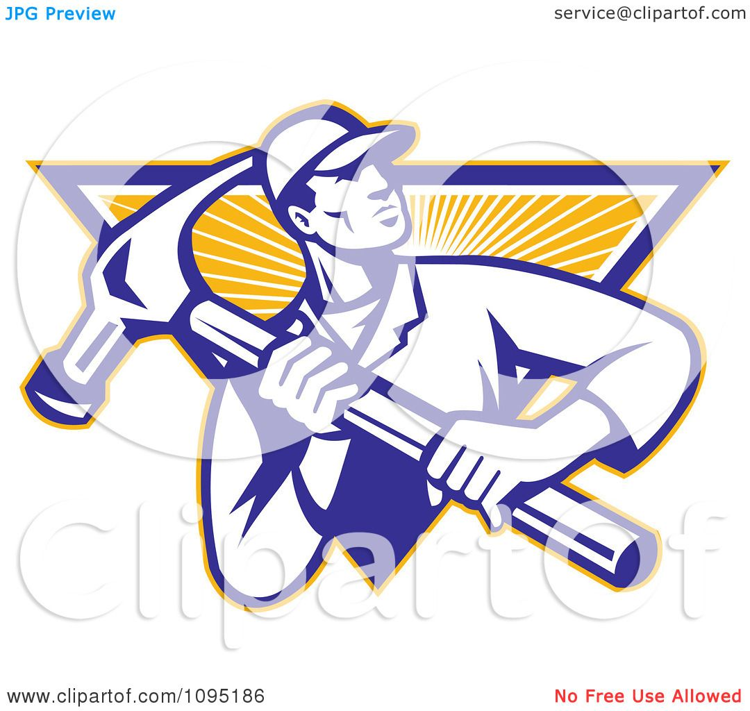 Vector Illustration Hammer: Clipart Retro Carpenter Carrying A Large Hammer Over A Ray