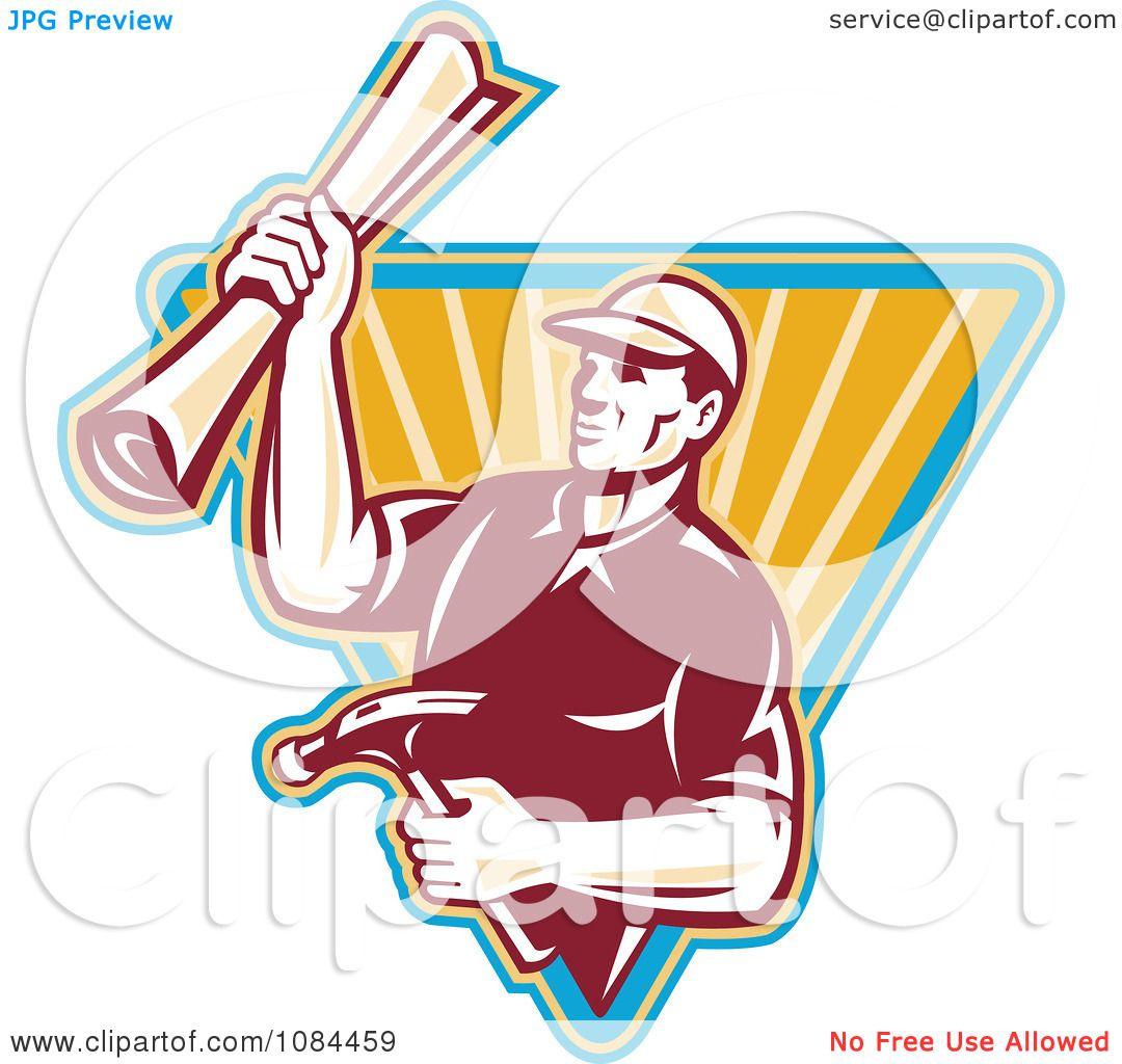 Vector Illustration Hammer: Clipart Retro Carpenter Holding Blueprints And A Hammer