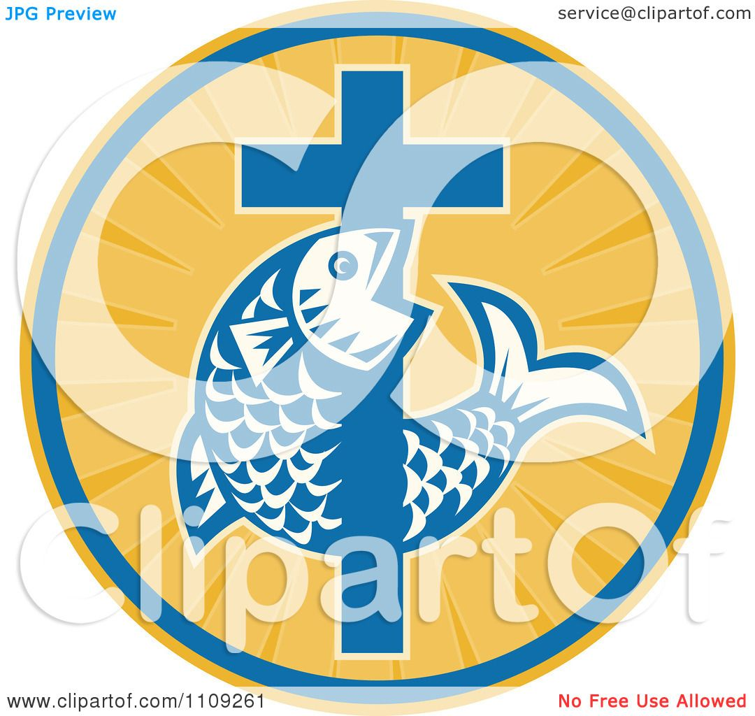 Clipart Retro Christian Fish And Cross In A Ray Circle - Royalty ...