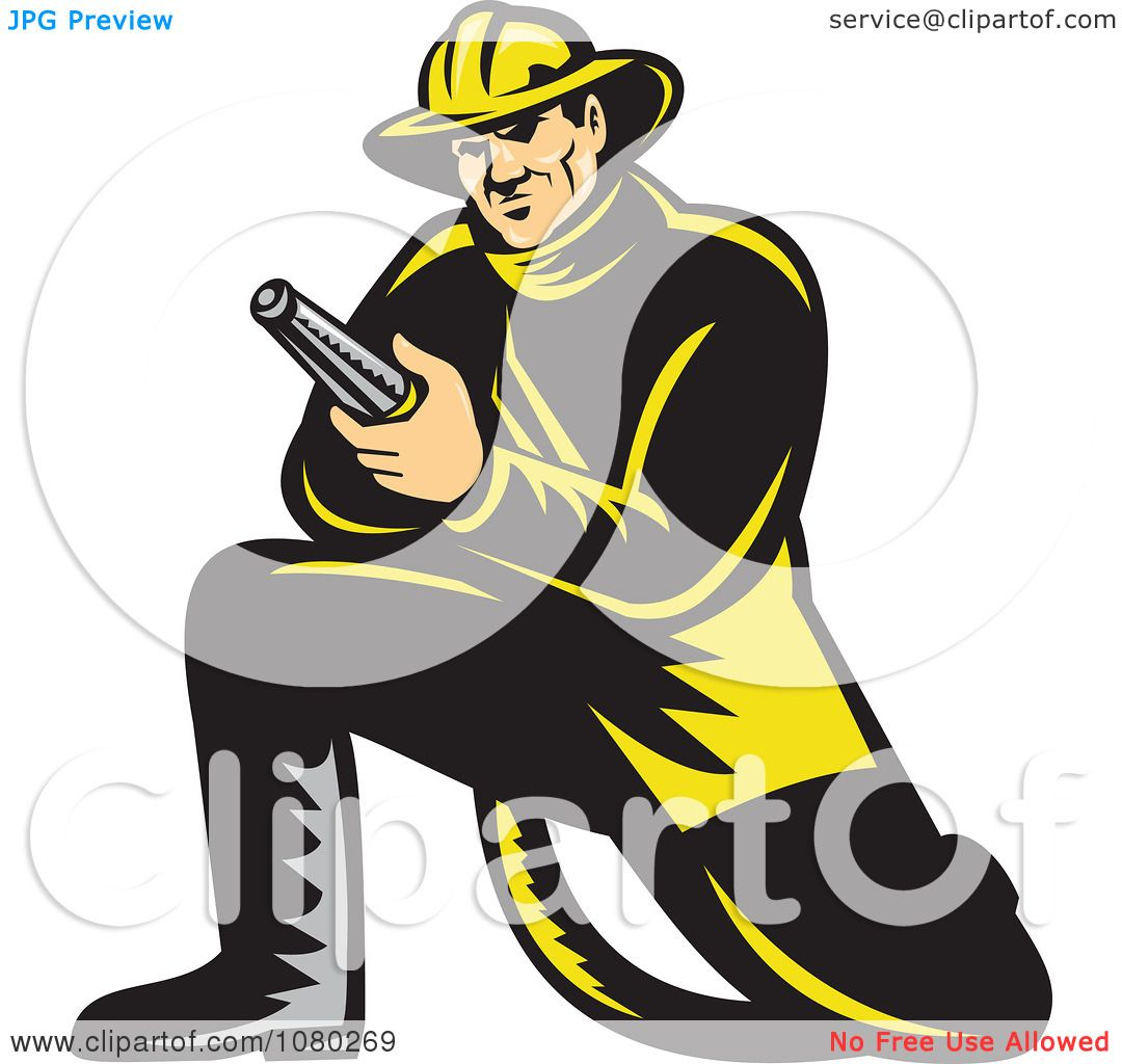Royalty free fireman and hose vector logo patrimonio
