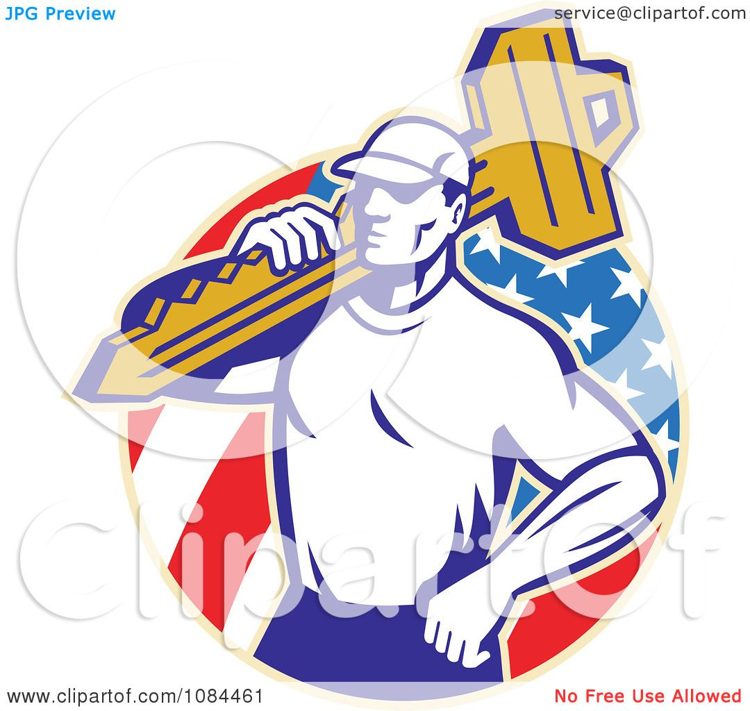 Clipart Retro Locksmith Carrying A Key Over An American ...
