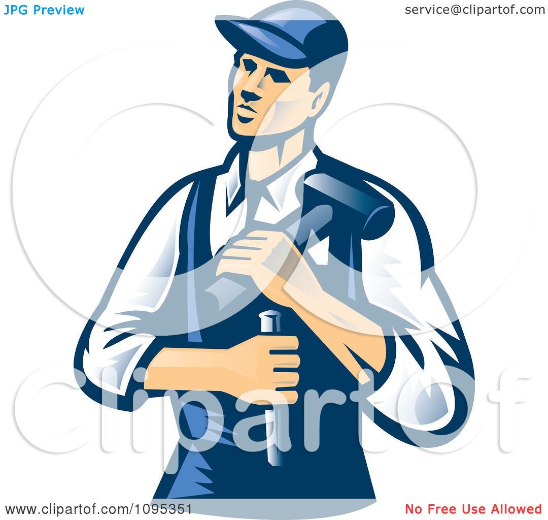Clipart Retro Male Carpenter Holding A Chisel And Hammer ...