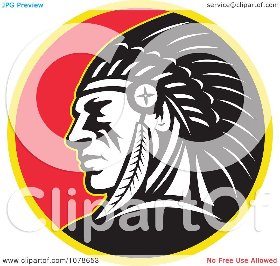 Clipart Retro Native American Indian Chief Circle Logo - Royalty ...