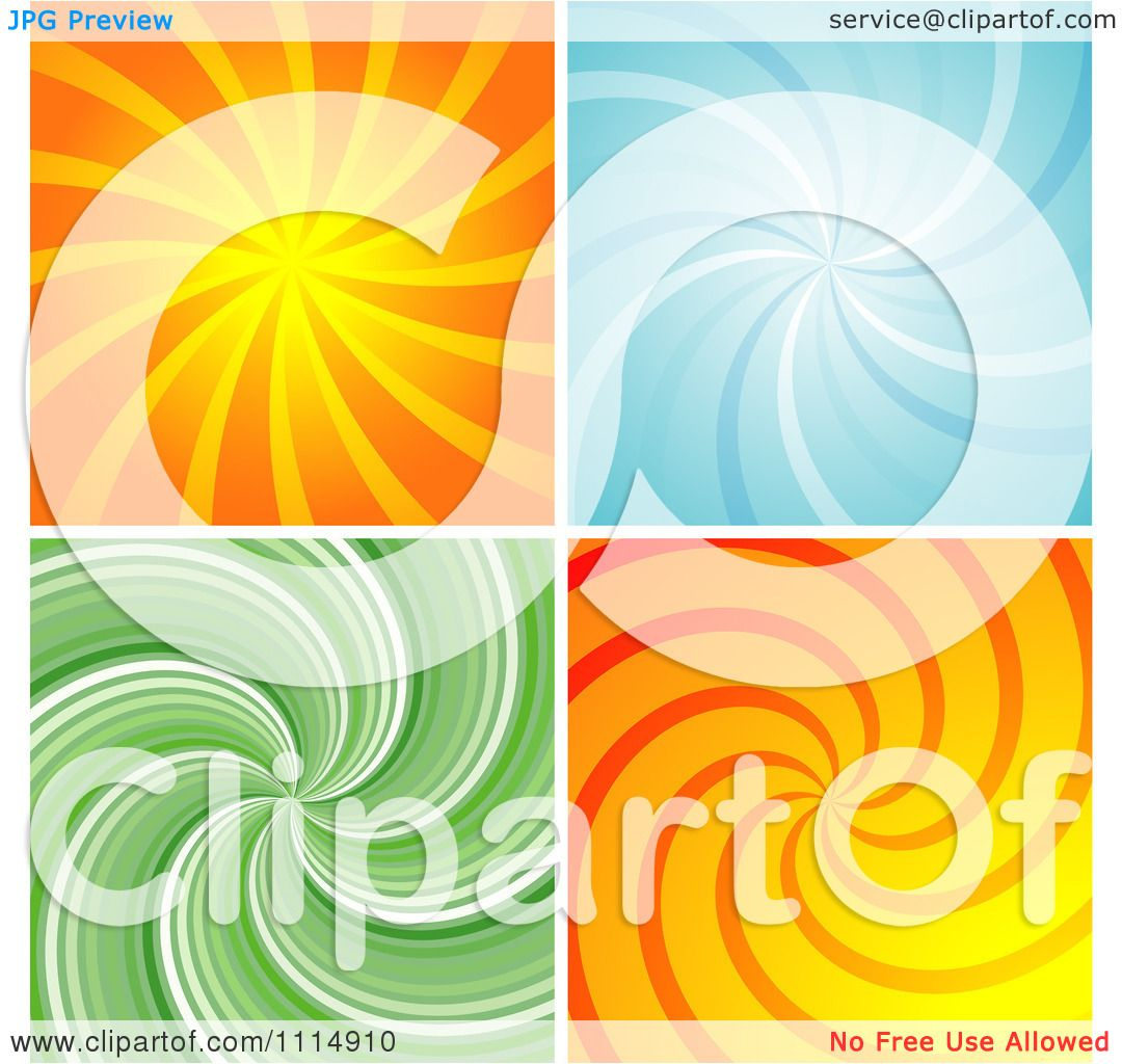 Clipart Retro Orange Blue And Green Swirl Backgrounds ...