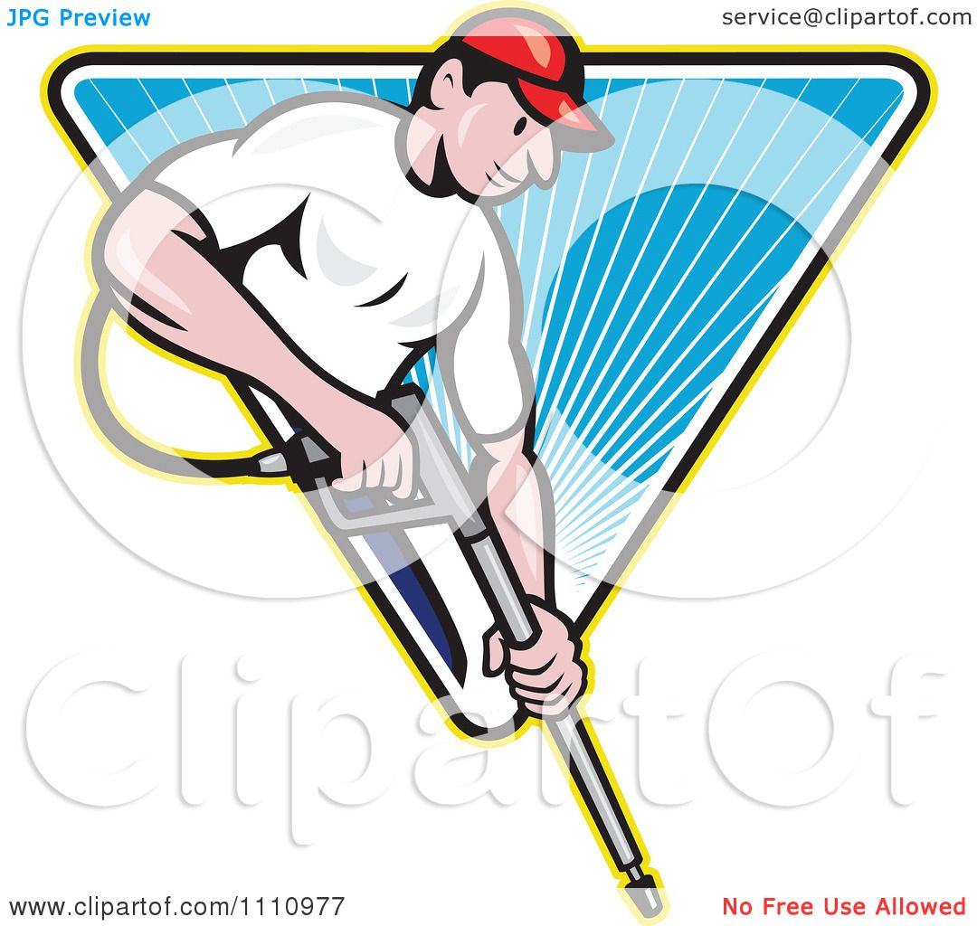 Clipart Retro Pressure Washer Worker Over A Blue Triangle