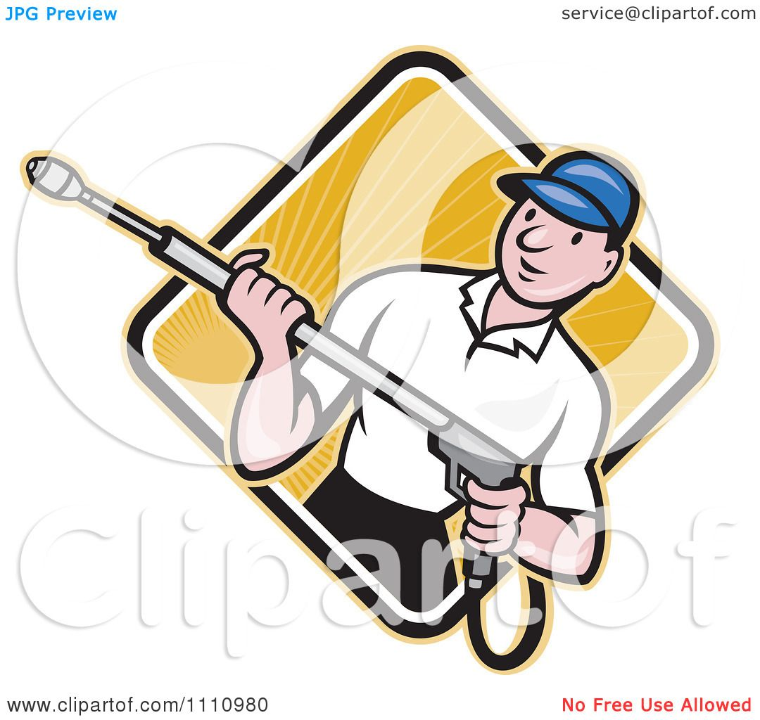Clipart Retro Pressure Washer Worker Over A Diamond Of Rays 2 ...