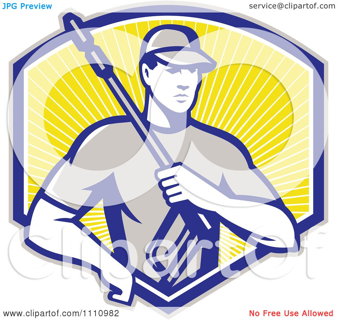 Clipart Retro Pressure Washer Worker Over A Shield Of Rays