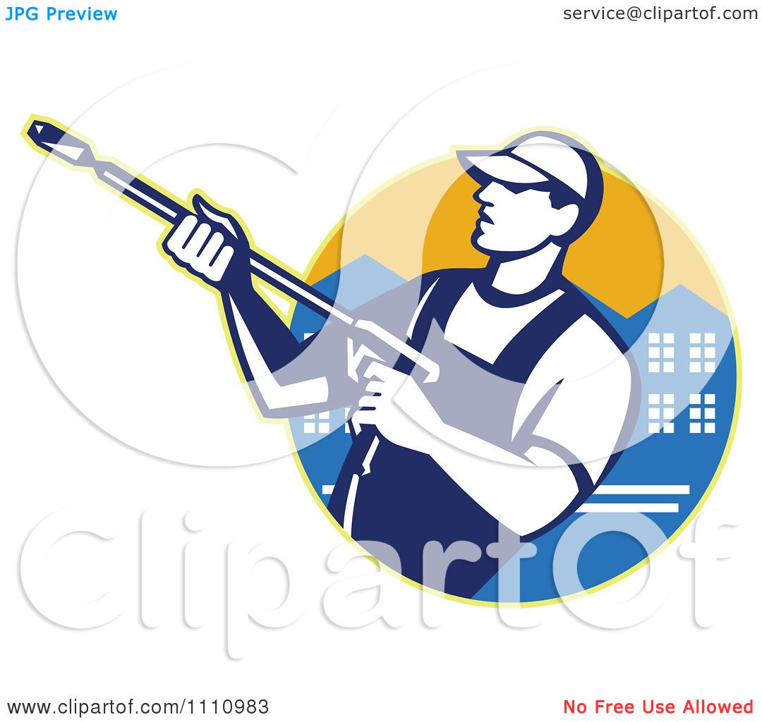 Clipart Retro Pressure Washer Worker Over An Urban Circle