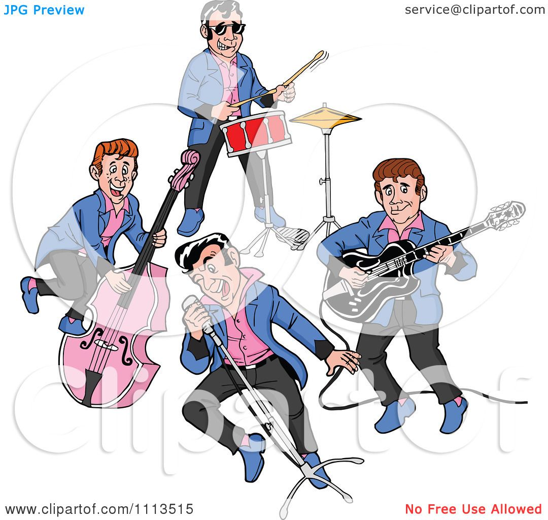 Clipart Retro Rockabilly Music Band Singing And Playing ...