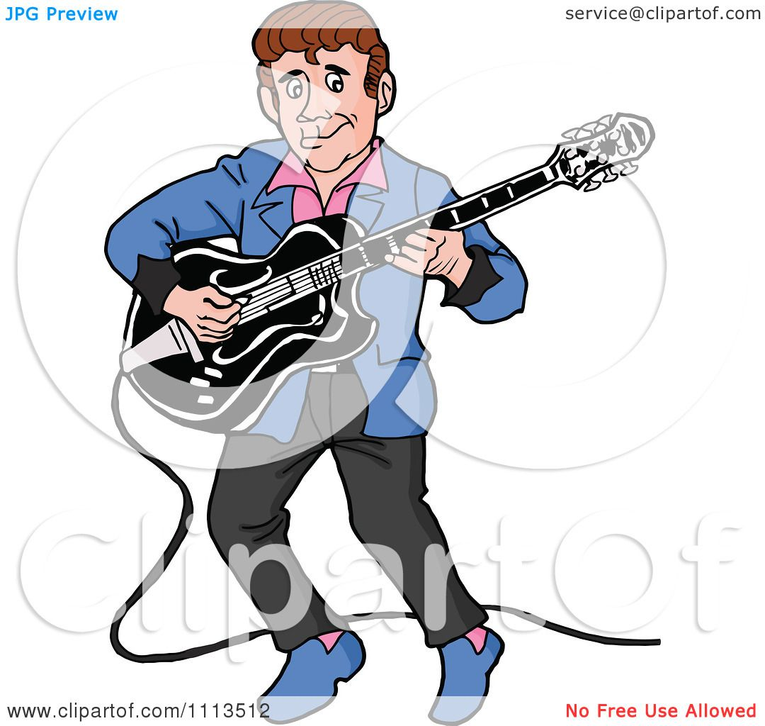 Clipart Retro Rockabilly Musician Man Playing A Guitar - Royalty ...