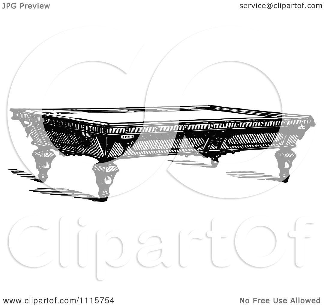 Clipart Retro Vintage Black And White Billiards Snooker ...