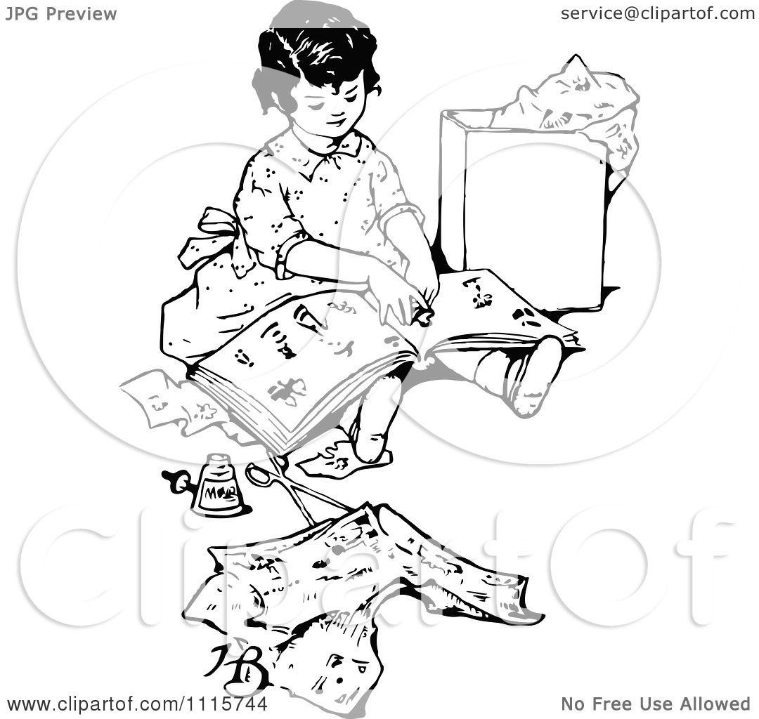 Clipart Retro Vintage Black And White Happy Girl ...