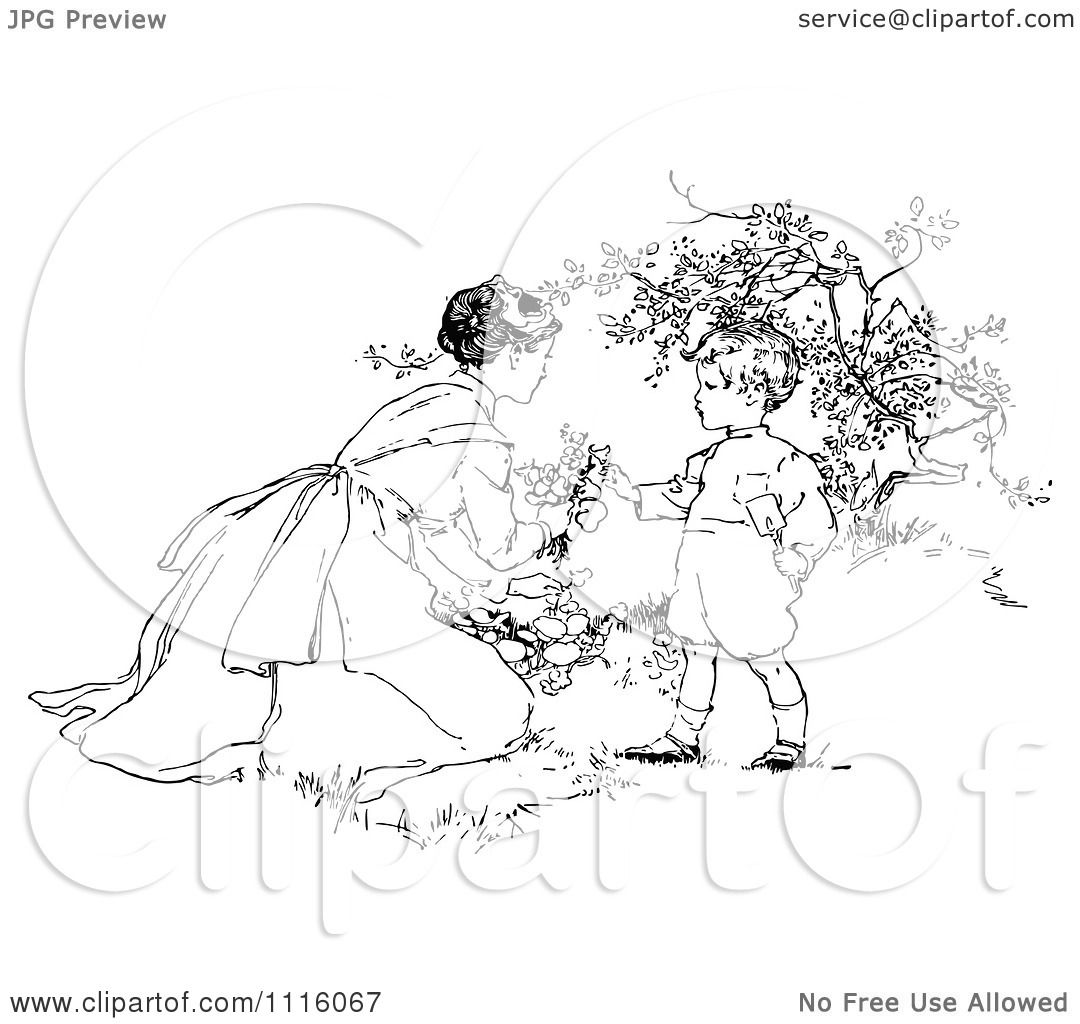 Clipart Retro Vintage Black And White Mother And Son Picking Flowers