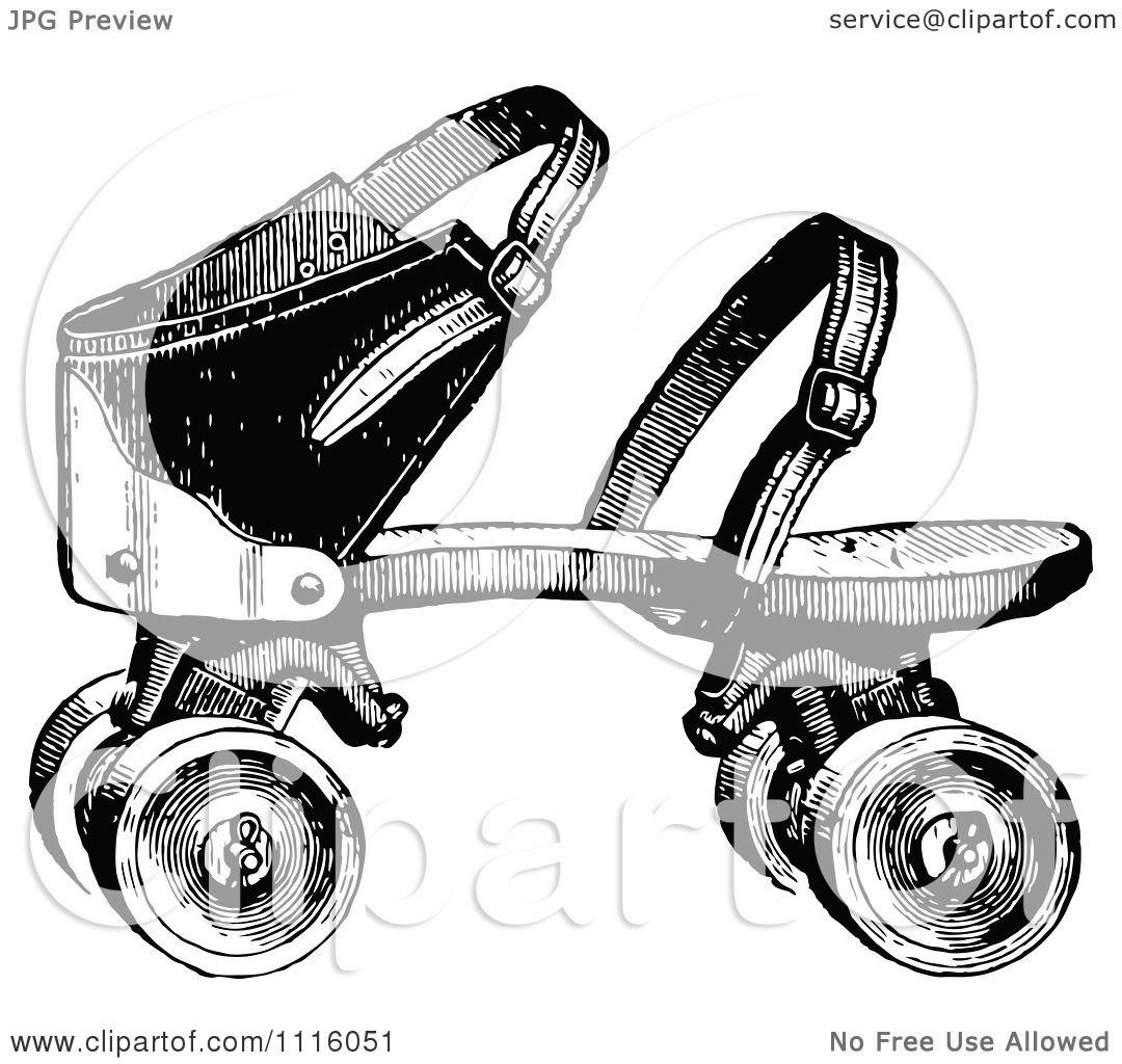 Roller skates for free - Clipart Retro Vintage Black And White Roller Skate Royalty Free Vector Illustration By Prawny Vintage