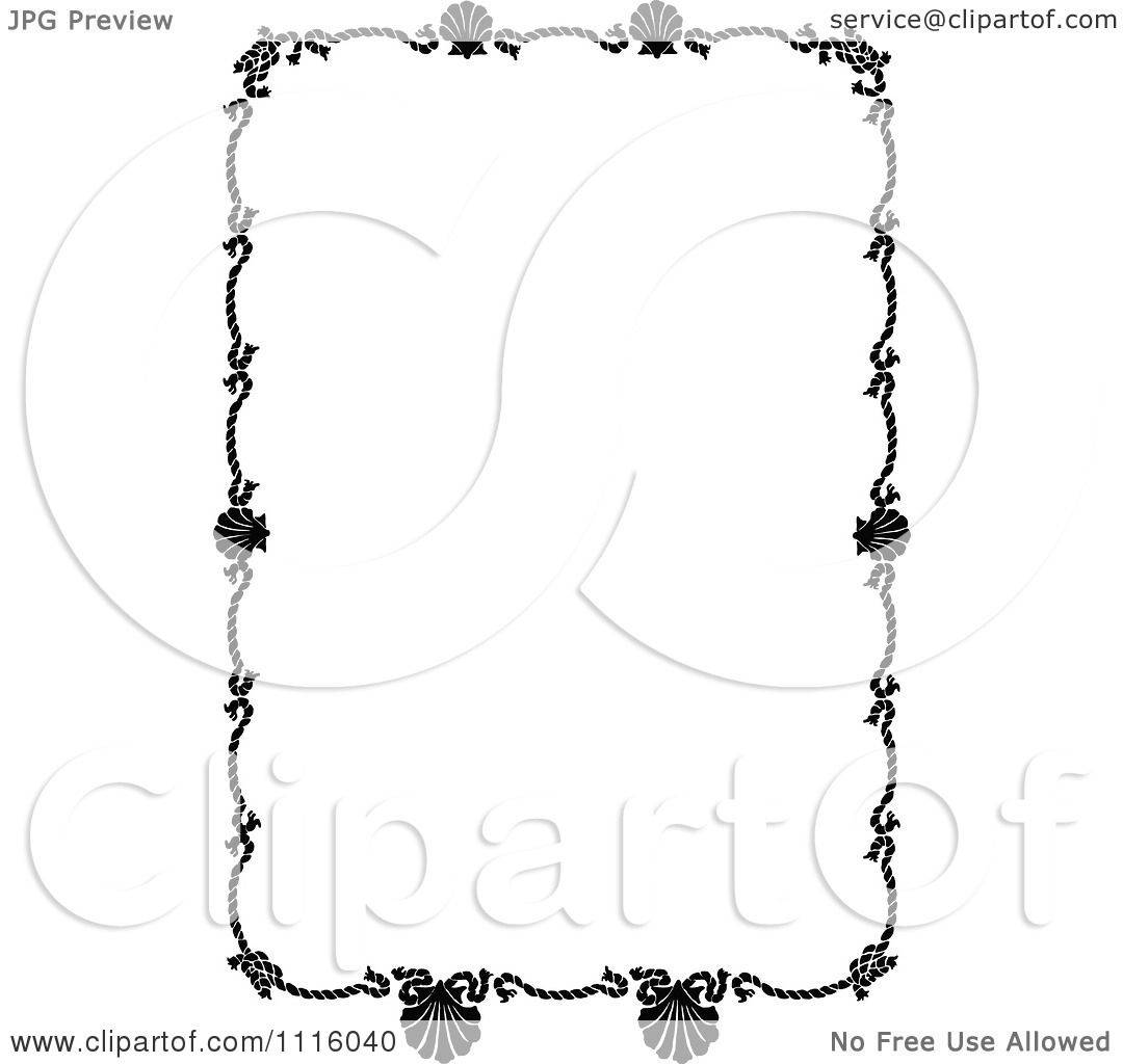 Clipart Retro Vintage Black And White Rope And Scallop Shell ...