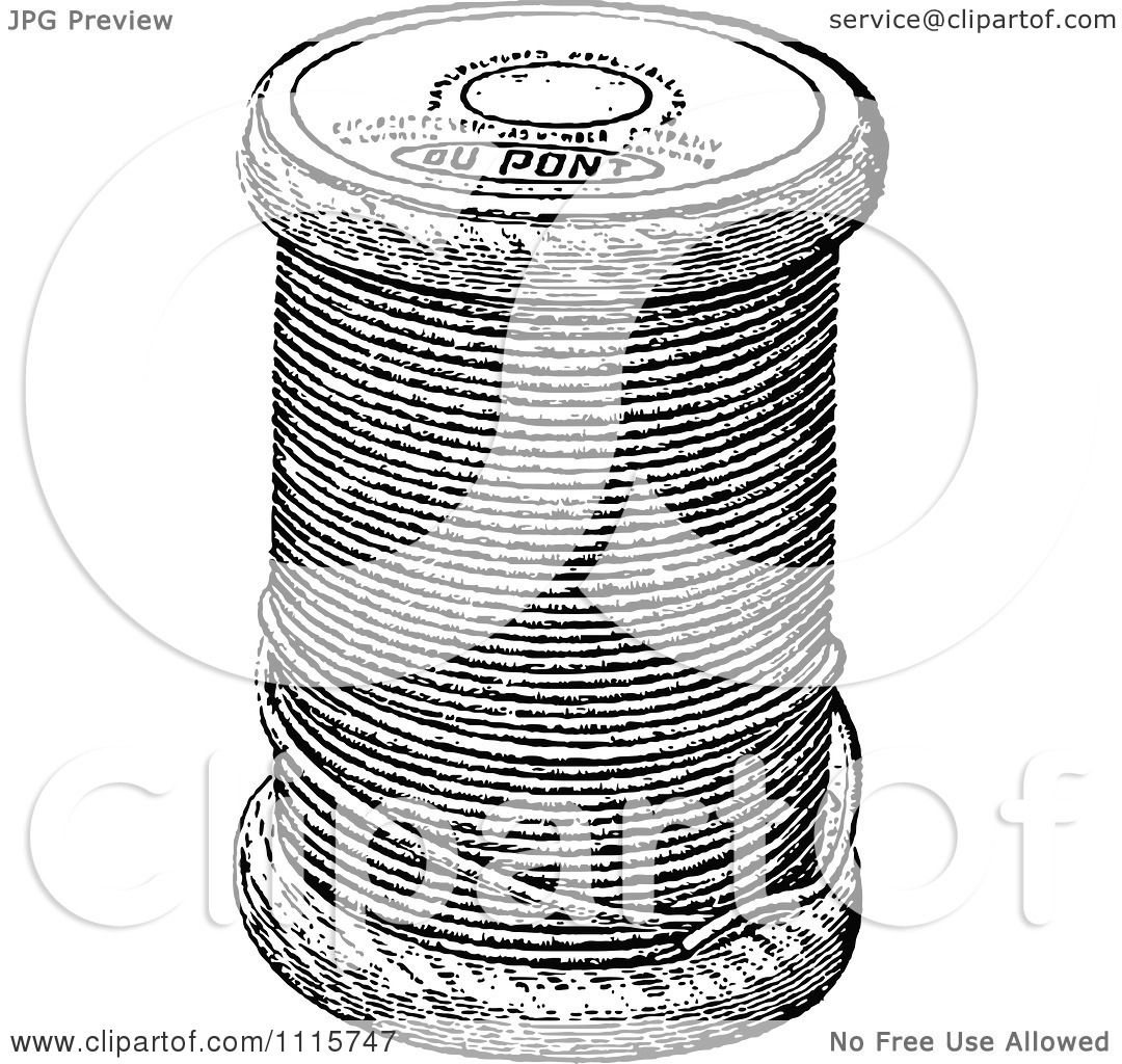 Clipart Retro Vintage Black And White Spool Of Sewing Thread ...