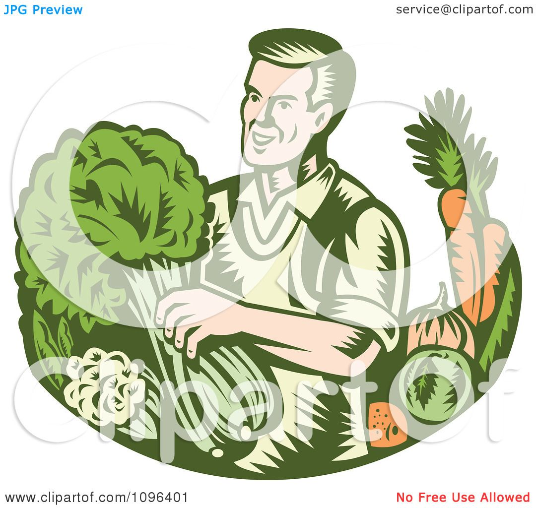 Clipart Retro Woodcut Organic Farmer With With Leafy Green ...