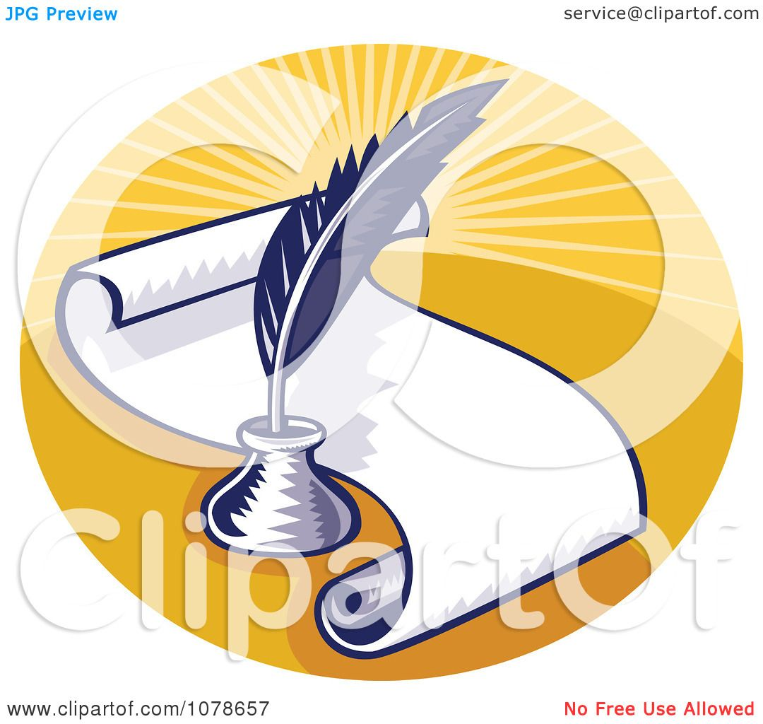 Clipart Retro Writing Quill And Scroll Logo - Royalty Free ...