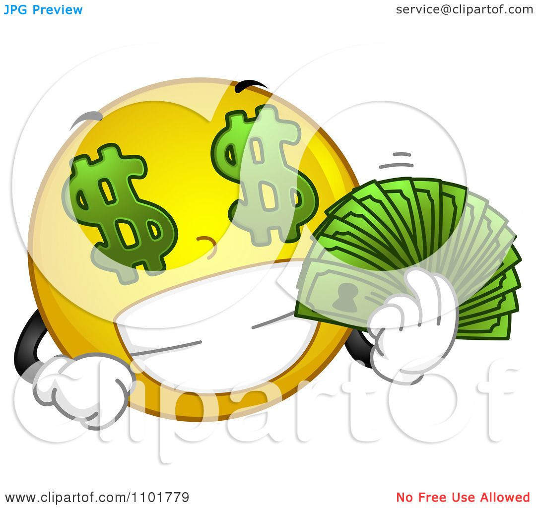 Bills emoticons | Download to MySpace, Skype or Facebook |Smiley Face Holding Money