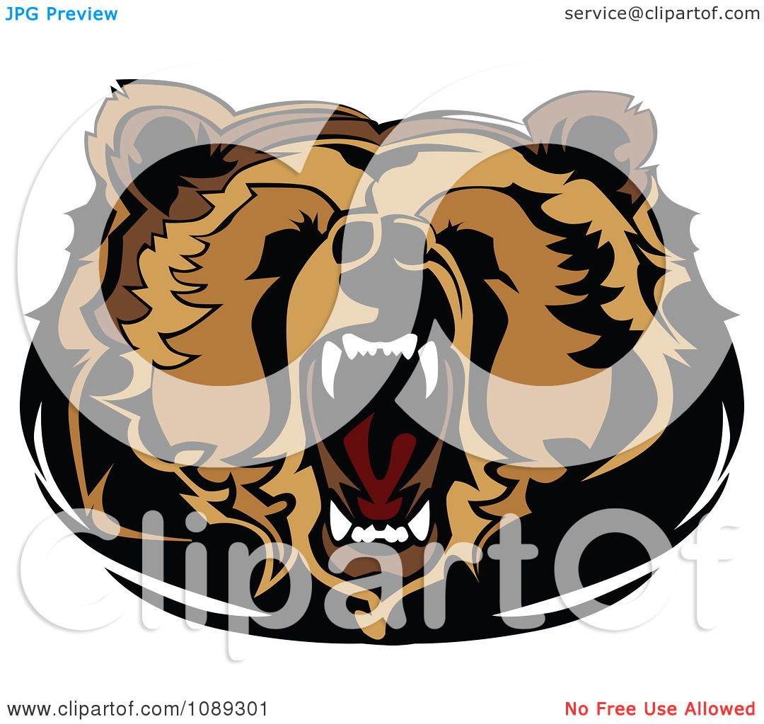 Clipart Roaring Bear Mascot Head - Royalty Free Vector Illustration by    Roaring Bear Clip Art