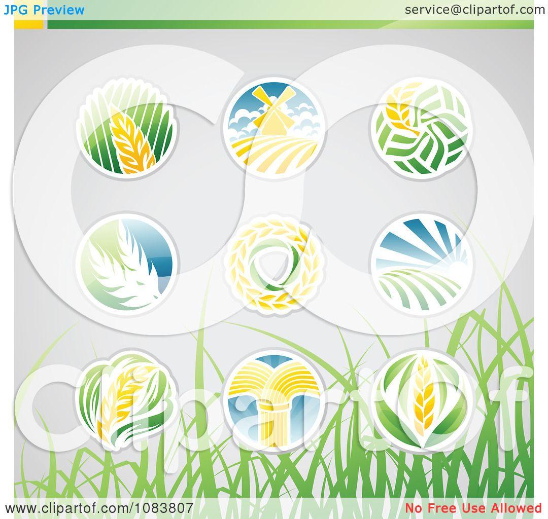 Wheat Icon Vector Clipart round wheat icon logos