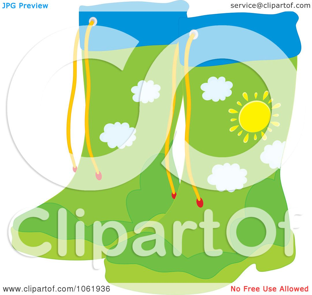 Clipart Rubber Boots With A Landscape Design