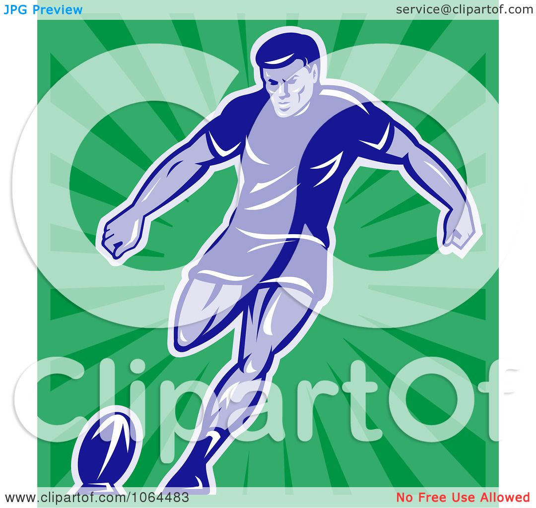 Green Rugby Player: Clipart Rugby Player Kicking Over Green