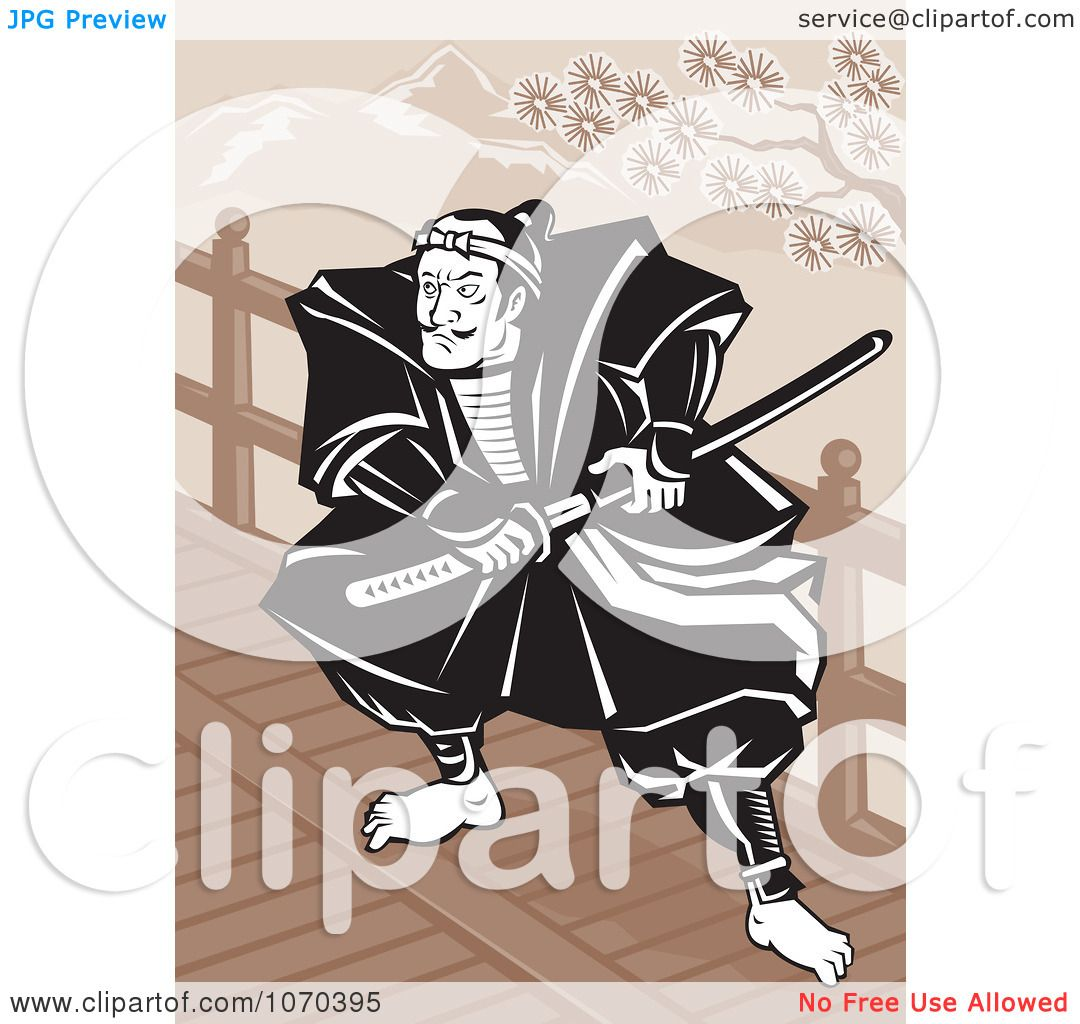 Clipart Samurai Warrior Reaching For His Sword Royalty