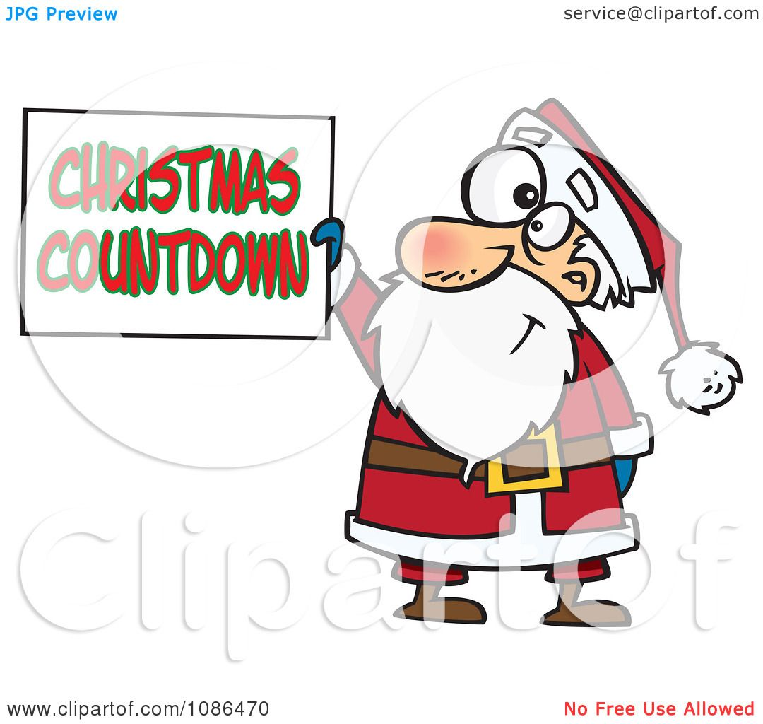 clipart santa claus holding a christmas countdown sign royalty