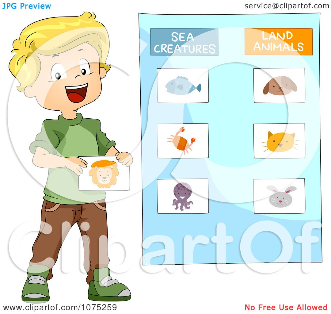 Clipart School Boy Categorizing Sea Creatures And Land Animals - Royalty Free Vector ...