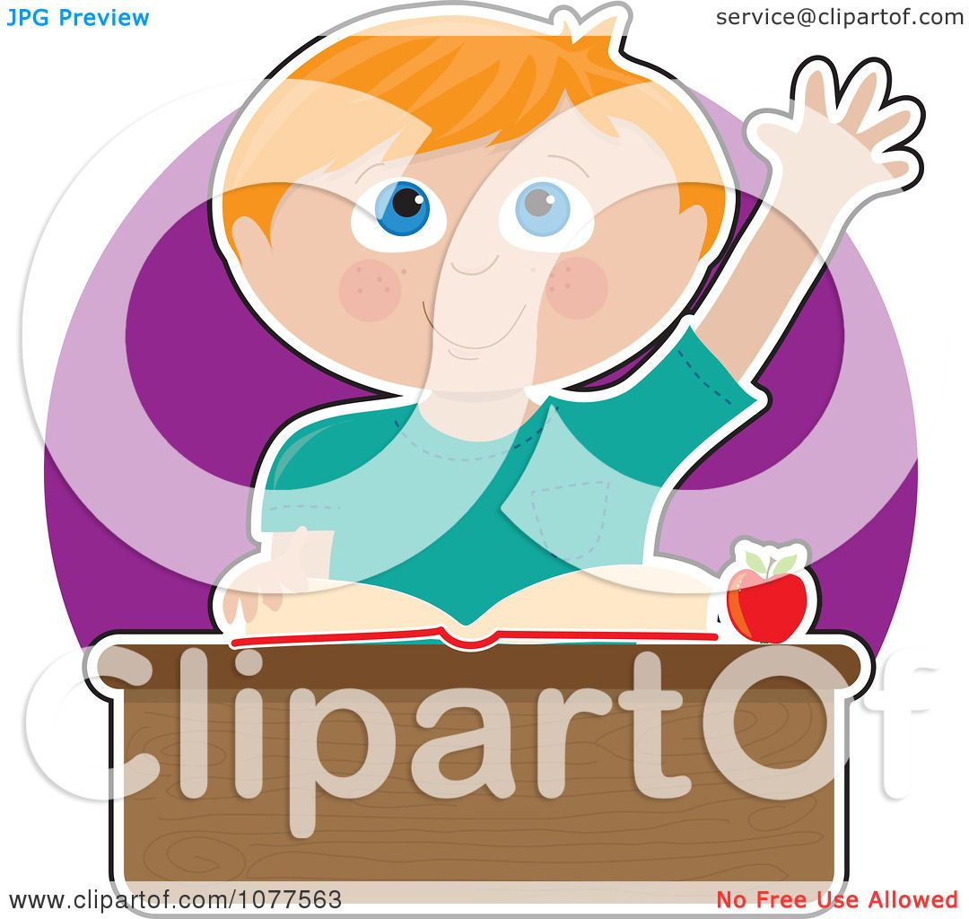 Clipart School Boy Student Raising His Hand To Answer A ...