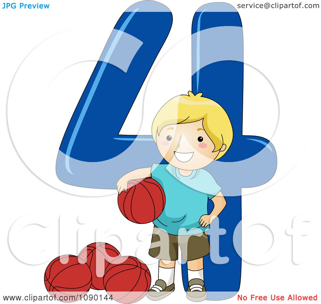 clipart school boy with four basketballs by number 4