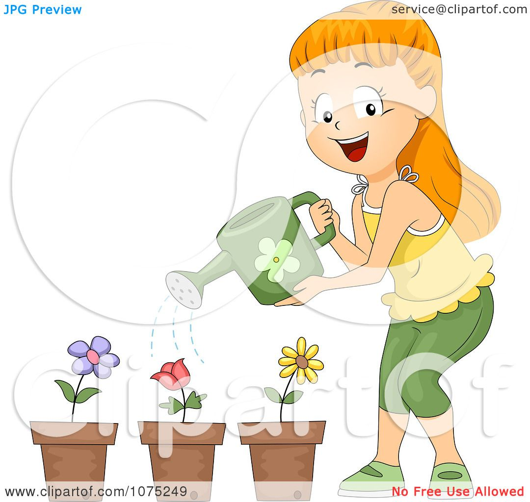 Girl Watering Plants Clip Art – Cliparts