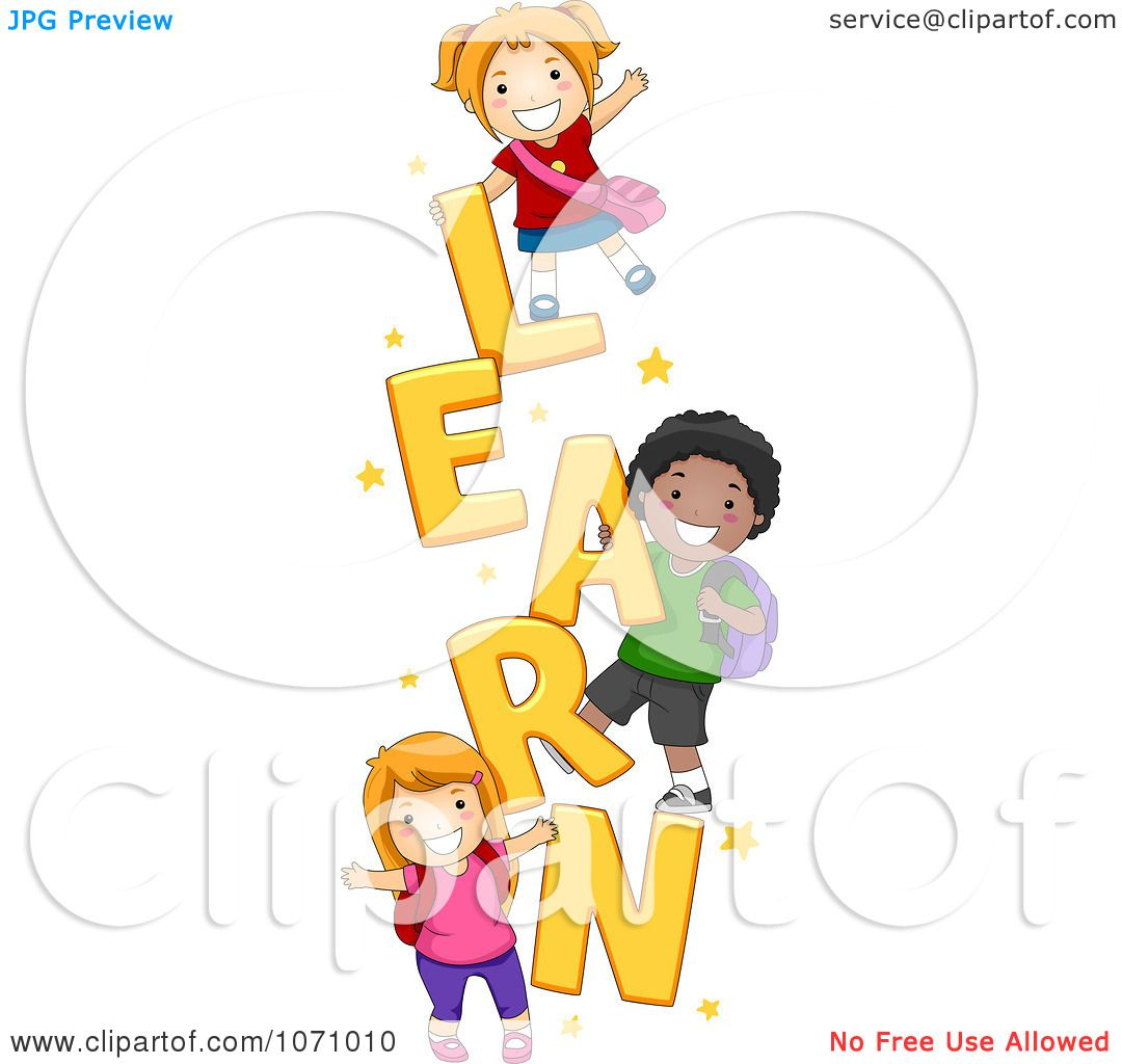 Clipart School Kids Playing On The Word LEARN - Royalty ...