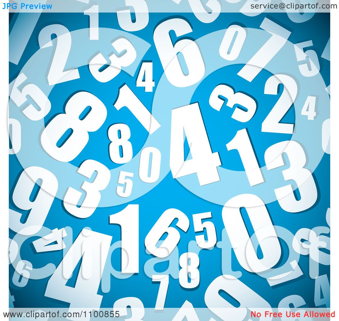 Clipart Seamless Background Pattern Of White Numbers On Blue ...