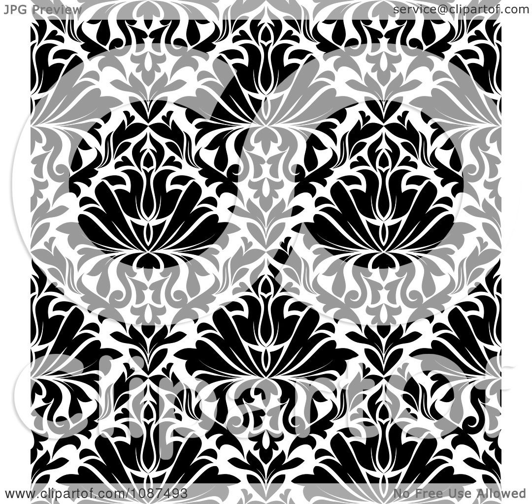 Clipart of a Seamless Background Pattern of Damask in