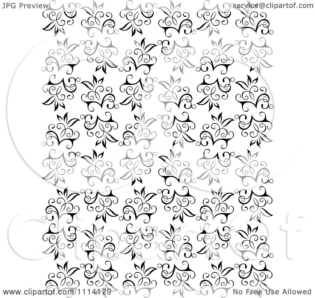 Black Flower And Vines Pattern Royalty Free Stock Image: Clipart Seamless Black And White Floral Vine Background